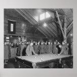 World War 1 YMCA Pool Hall, 1910s Posters