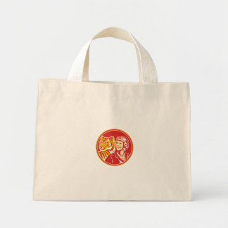 World War 2 Pilot Airman Tiger Circle Retro Mini Tote Bag