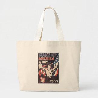 World War 2 Wake Up America Canvas Bags
