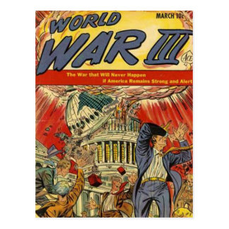 World War 3 Vintage comic book Postcard