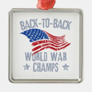 World War Champions Silver-Colored Square Decoration