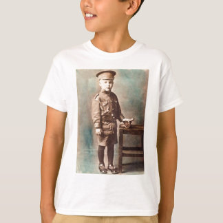 World War I Boy and Toy Cannon Hand Tinted Tshirt