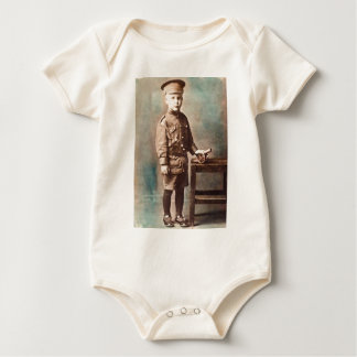 World War I Boy and Toy Cannon Hand Tinted Bodysuits