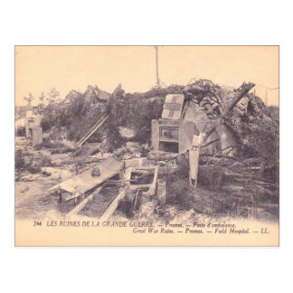 World War I,  France, Ruins of a field hospital Postcard