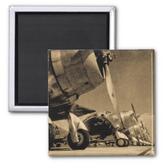World War II Airplanes Square Magnet