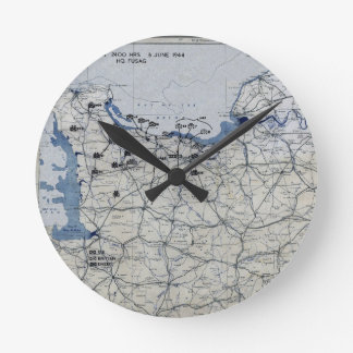 World War II D-Day Map June 6, 1944 Clock