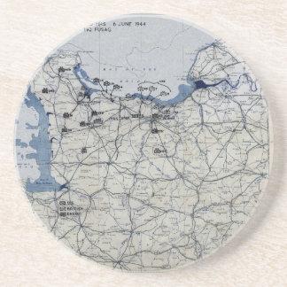 World War II D-Day Map June 6, 1944 Coaster