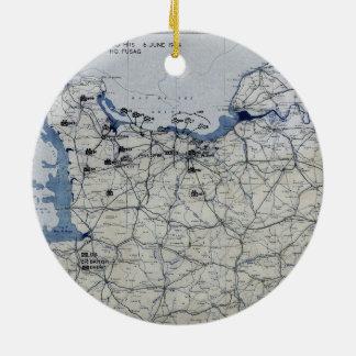 World War II D-Day Map June 6, 1944 Round Ceramic Decoration