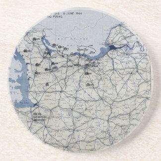 World War II D-Day Map June 6, 1944 Sandstone Coaster