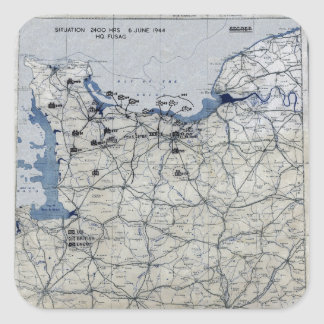 World War II D-Day Map June 6, 1944 Square Sticker