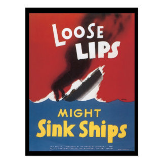 World War II Loose Lips Postcard