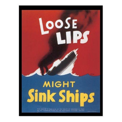 World War II Loose Lips Postcard