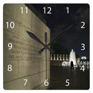 World War II Memorial Square Wall Clock
