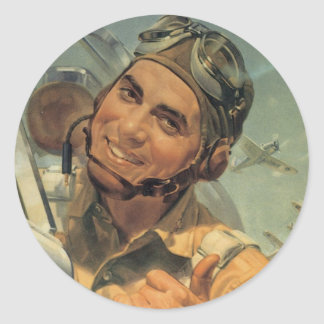 World War II Pilot Round Sticker