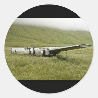 World war ii plane wreckage on atka island round stickers