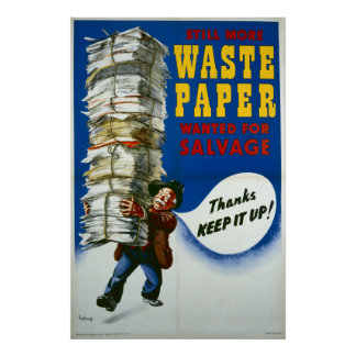 World War II poster - Salvage Waste Paper