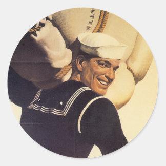 World War II Sailor Classic Round Sticker
