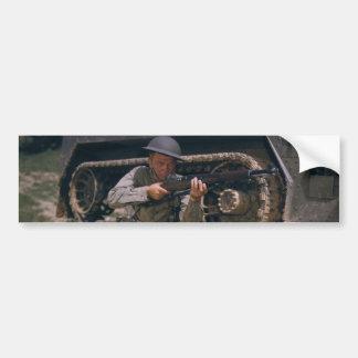 World War II Soldier Kneeling with Garand Rifle Bumper Sticker