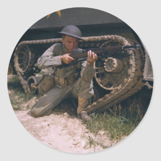 World War II Soldier Kneeling with Garand Rifle Round Sticker