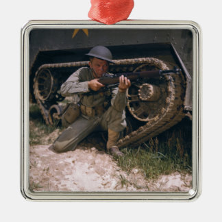 World War II Soldier Kneeling with Garand Rifle Silver-Colored Square Decoration