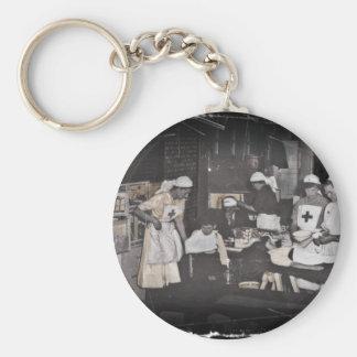 World War One Nurses Aid Station Basic Round Button Key Ring
