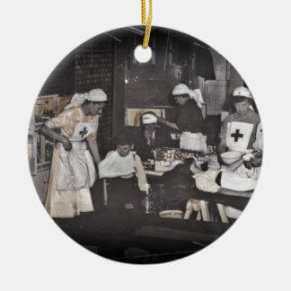 World War One Nurses Aid Station Round Ceramic Decoration
