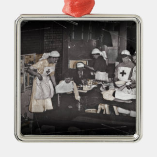 World War One Nurses Aid Station Silver-Colored Square Decoration