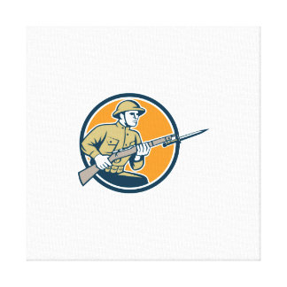 World War One Soldier American Retro Circle Stretched Canvas Prints