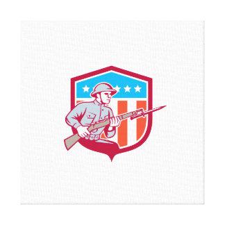 World War One Soldier American Retro Shield Canvas Print