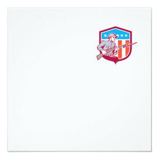 World War One Soldier American Retro Shield 13 Cm X 13 Cm Square Invitation Card