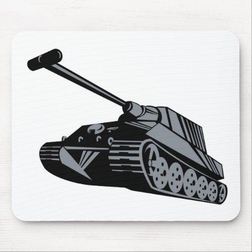 World War two battle tank panzer retro style Mouse Pads