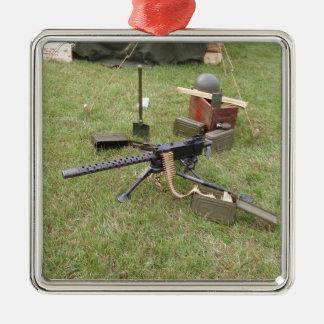 World War Two Machine Gun Silver-Colored Square Decoration