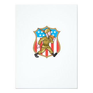World War Two Soldier American Cartoon Shield Invitations