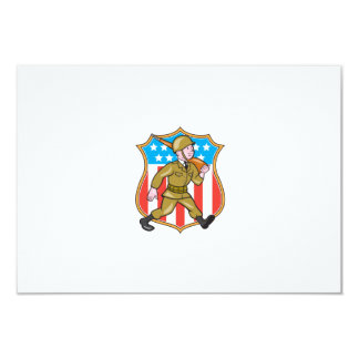 World War Two Soldier American Cartoon Shield Invites