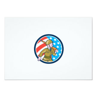 World War Two Soldier American Marching Cartoon Ci Custom Announcements