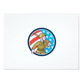 World War Two Soldier American Marching Cartoon Ci 17 Cm X 22 Cm Invitation Card