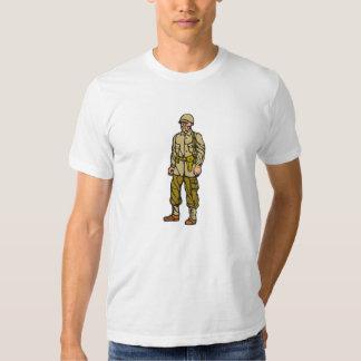 World War Two Soldier Standing Linocut T-shirt