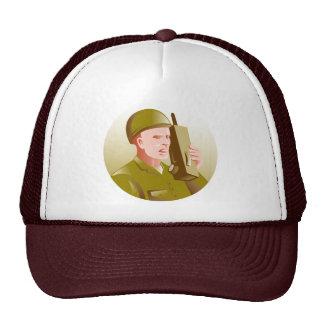 world war two soldier talking walkie talkie radio mesh hats