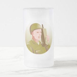 world war two soldier talking walkie talkie radio mug