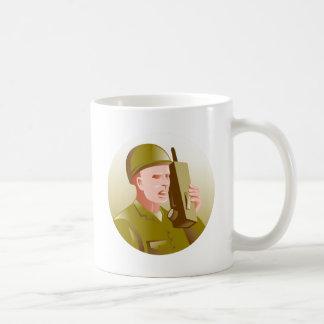 world war two soldier talking walkie talkie radio coffee mug