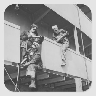 World War Two Women Chipping Slag Square Sticker