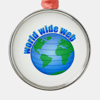 World Wide Web Round Metal Christmas Ornament