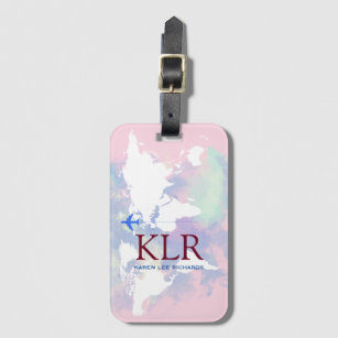 Luggage bag tags zazzle uk worldmap with personalised initials luggage tag gumiabroncs Gallery