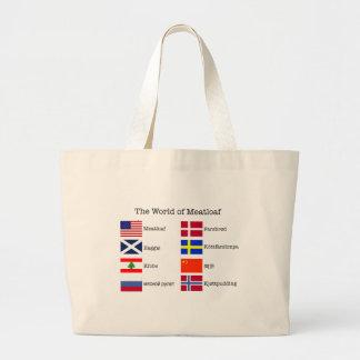WorldMeatloaf Black Letters Jumbo Tote Bag