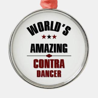 World's amazing Contra Dancer Silver-Colored Round Decoration