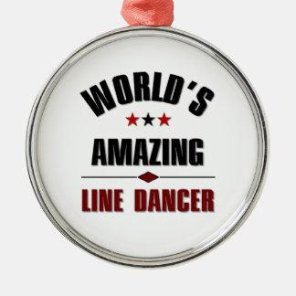 World's amazing Line dancer Silver-Colored Round Decoration