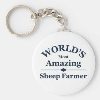 World's amazing Sheep Farmer Basic Round Button Key Ring
