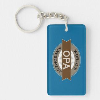 Worlds Awesomest Opa Double-Sided Rectangular Acrylic Keychain