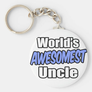 World's Awesomest Uncle Basic Round Button Key Ring