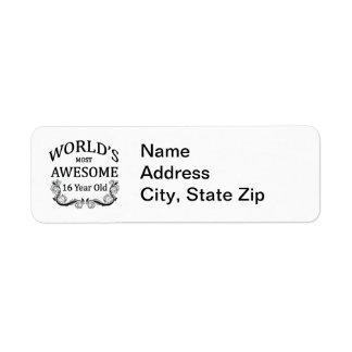 World's Best 16 Year Old Return Address Label